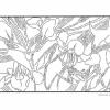 Трафарет с цветами и птицей