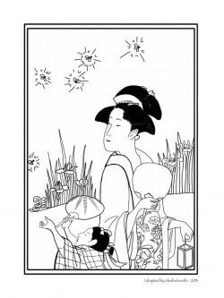 Трафарет с традиционными японками