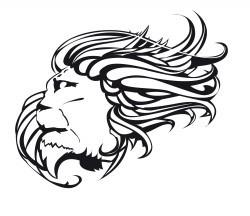 Трафарет морда льва с гривой