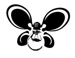 Трафарет с лампочкой и бабочкой