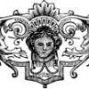 Трафарет — лицо в декоративном орнаменте