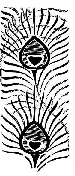 Трафарет в стиле Ар-деко с перьями павлина