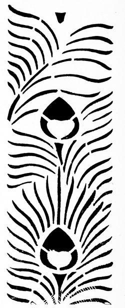Трафарет в стиле Ар-деко с перьями павлина — 2