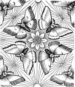 Трафарет в стиле Ар-деко с бабочками и цветами