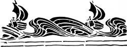 Трафарет в стиле Ар-деко — морской узор