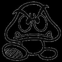 Монстр трафарет для наклейки-декали из игры Супер Марио